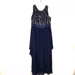 Eliza J navy full length dress lace blue 20